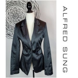 PURE By Alfred Sung Satin Tuxedo Jacket Blazer
